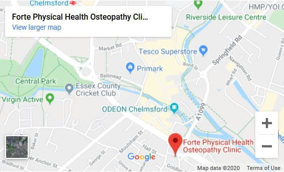Chelmsford osteopath location map